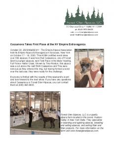 Cassanova Takes First Place! - Forest Glen Alpacas