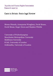 Caste in Britain: Socio-legal Review - Equality and Human Rights ...