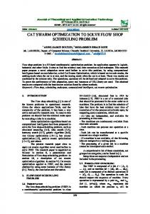 cat swarm optimization to solve flow shop scheduling problem