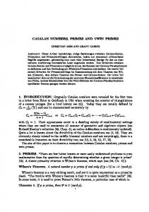 Catalan numbers, primes and twin primes - CiteSeerX