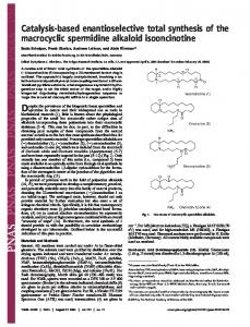 Catalysis-based enantioselective total synthesis of the ... - PNAS