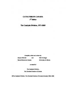 CATALYSIS IN CANADA The Catalysis Division, 1971