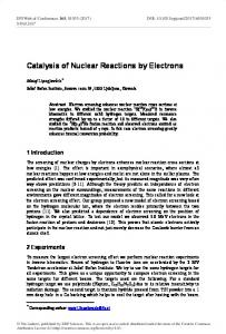 Catalysis of Nuclear Reactions by Electrons - EPJ Web of Conferences