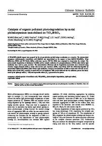 Catalysis of organic pollutant photodegradation by metal ...