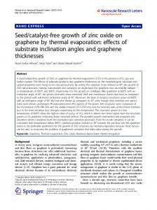 catalyst-free growth of zinc oxide on graphene by thermal