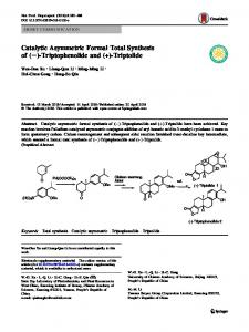 Catalytic Asymmetric Formal Total Synthesis of ... - Springer Link