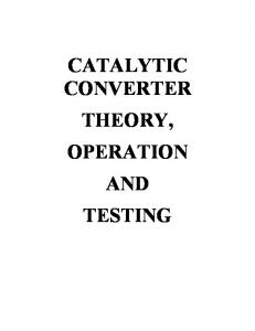 CATALYTIC CONVERTER THEORY, OPERATION AND TESTING
