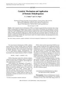 Catalytic Mechanism and Application of Formate ... - Springer Link