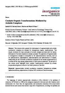 Catalytic Organic Transformations Mediated by