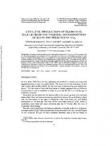 catalytic production of elemental sulfur from the