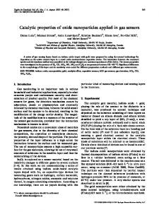 Catalytic properties of oxide nanoparticles applied in ... - Springer Link