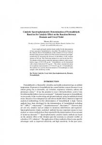 Catalytic Spectrophotometric Determination of Formaldehyde Based ...
