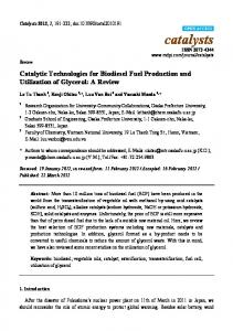 Catalytic Technologies for Biodiesel Fuel Production and ... - MDPI