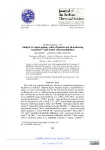 Catalytic tetrahydropyranylation of phenols and alcohols using ...