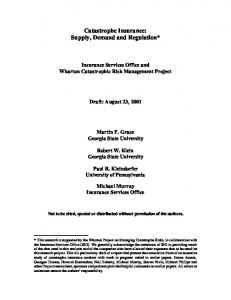 Catastrophe Insurance: Supply, Demand and