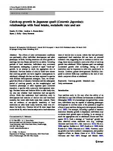 Catch-up growth in Japanese quail (Coturnix Japonica) - Springer Link
