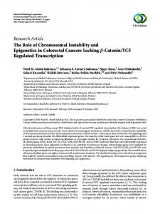 Catenin/TCF Regulated - Hindawi