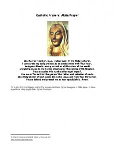 Catholic Prayers: Akita Prayer - St. Charles Borromeo Catholic Church