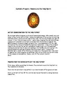 Catholic Prayers: Novena to the Holy Spirit