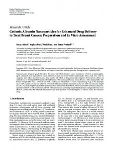 Cationic Albumin Nanoparticles for Enhanced Drug Delivery to Treat ...