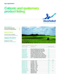 Cationic and quaternary product listing - AkzoNobel Surface Chemistry