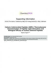 Cationic Antimicrobial Peptides: Thermodynamic Characterization of