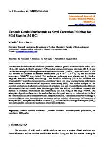 Cationic Gemini Surfactants as Novel Corrosion Inhibitor for Mild Steel