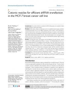 Cationic vesicles for efficient shRNA transfection in