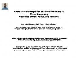 Cattle Markets Integration and Price Discovery in ... - AgEcon Search
