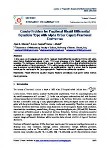 Cauchy Problem for Fractional Ricatti  Differential ...