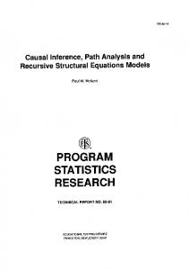 Causal Inference, Path Analysis and Recursive ...
