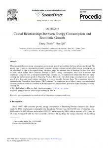 Causal Relationships between Energy Consumption and ... - Core