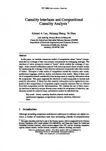 Causality Interfaces and Compositional Causality ... - Semantic Scholar