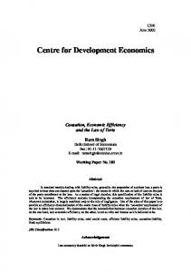 causation, economic efficiency and the law of torts - CDE