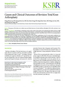 Causes and Clinical Outcomes of Revision Total ... - Semantic Scholar