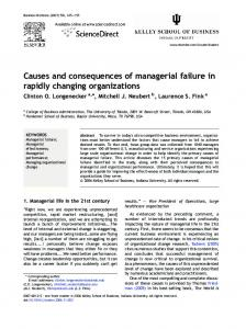 Causes and consequences of managerial failure in