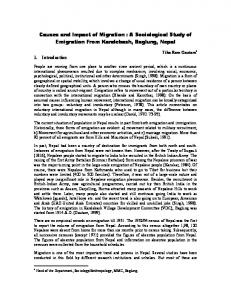 Causes and Impact of Migration : A Sociological Study of Emigration ...