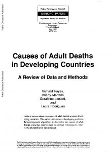 Causes of Adult Deaths in Developing Countries