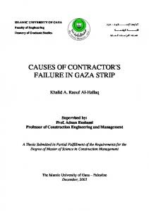 CAUSES OF CONTRACTOR'S FAILURE IN GAZA STRIP