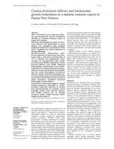 Causes of preterm delivery and intrauterine growth retardation in a ...