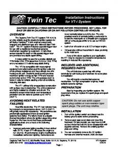 CAUTION: CAREFULLY READ ... - Daytona Twin Tec LLC