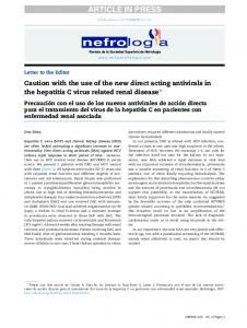 Caution with the use of the new direct acting antivirals