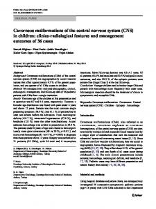 Cavernous malformations of the central nervous ...