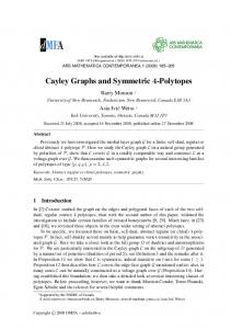 Cayley Graphs and Symmetric 4-Polytopes - Ars Mathematica ...