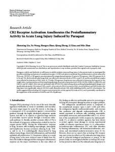 CB2 Receptor Activation Ameliorates the Proinflammatory Activity in ...