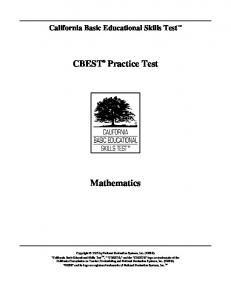 CBEST® Practice Test Mathematics