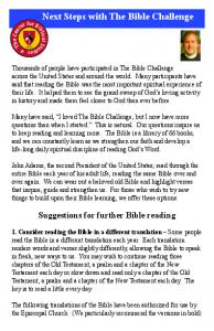 CBS -- Next Steps with The Bible Challenge