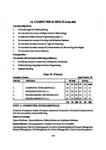 CBSE Board Syllabus For 2014 Exam - CBSE Computer Science ...