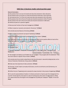 CBSE Class 12 business studies solved question paper