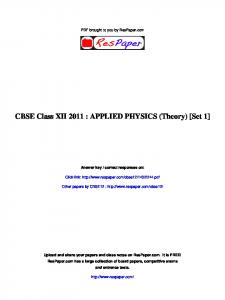 CBSE Class XII 2011 : APPLIED PHYSICS ... - The Turning Point